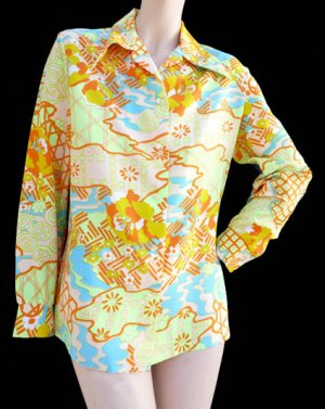 Lady  Arrow Top blouse Womens Vintage Long sleeves M