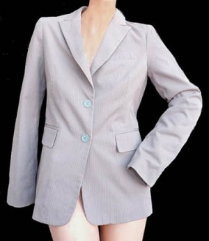 Marc Jacobs Womens jacket Gray Striped Cotton Sz 4 Womens clothing