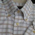 Robert Talbott shirt Dress LS 17 Button down collar White blue Tan