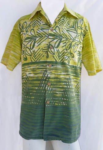 Kamehameha Vintage Hawaiian Aloha shirts M yellow white Stylized leaves