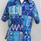 Tiki Hawaii Aloha Vtg 70s Nei Shirt SS Blue White Vintage 70's Mens