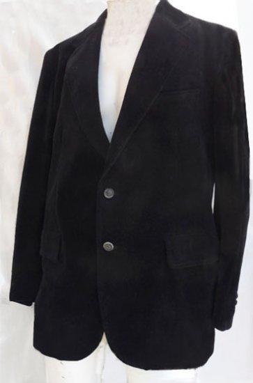 Mens Vintage Blazer Cotton Velvet Whim Black 44 Long Single breasted Japan