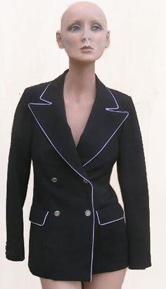 Black White trim Graffitti Blazer Alan Austin jacket  France Beverly hills