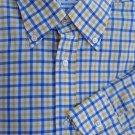 Battistoni Shirt Mens Dress 16.5 Long sleeve Gold White Blue check Cotton Italy