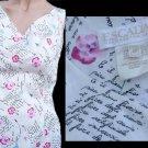Escada french print text dress  Sleevekess Sz 10 Floral White pink raspberry sleeveless Germany