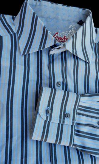 Robert Graham shirt Mens  M 16 Electric blue black stripes  NWOT