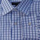 Robert Talbott Dress shirt LS 16/34 White Dark Blue Squares Spread collar  NWOT
