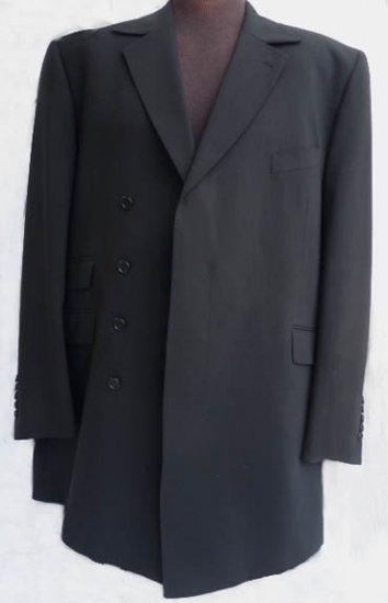Mens Black Coat Jacket 46 L Cristian Couture Coll Wedding Event Formal