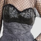 Cocktail Party Dress Black Sequins Illusion top Lace Net Sz 4 Elegant Liancarlo Neiman Marcus NY
