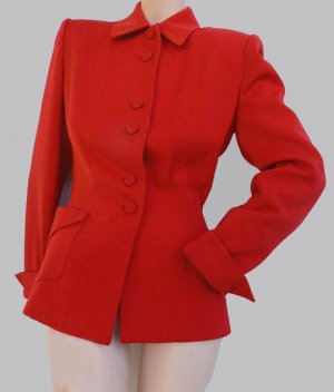 Vtg Red fitted suit jacket 40s 50 Kay Saks M Button San Francisco