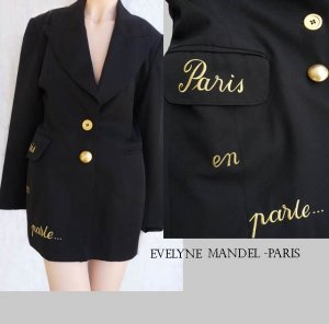 Evelyn Mandel Vintage blazer Black French Graffitti M Paris 80s  Sz M Ambiance