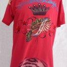 VTG Mens Red Skull T shirt XL Christian Audigier  Red Skull Crown Gun Skull