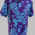 Waltah Clarke Hawaiian shirt SS Cotton Purple Button front