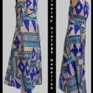 Vtg Womens Hawaiian DressAloha McInerny Sz 14 Geometric Sleeveless MAxi Full length