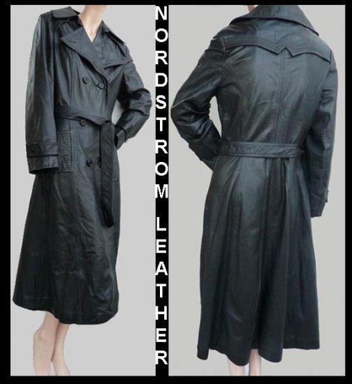 Womens Black leather Coat sz 14 Nordstrom Mid calf length