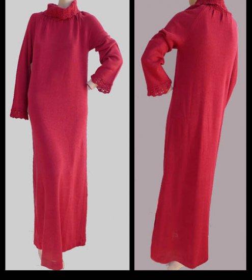 Vintage Crochet Long sleeve Maxi Dress Christian Dior Lounge wear M Saks Fifth Avenue