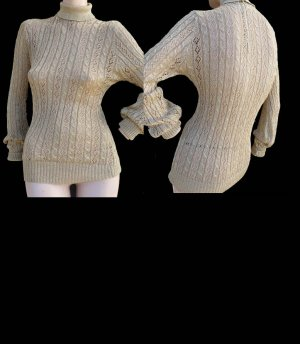 Vintage Sparkle Shimmer Sweater Saks Fifth Ave Small Gold Long sleeves