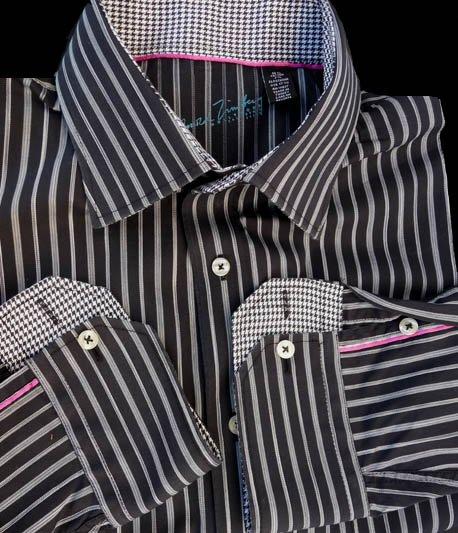 Arnold Zimberg Shirt LS 17.5 Black Silvery gray striped