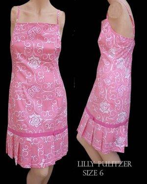 Lilly Pulitzer Dress Iron Maiden Butterflies Roses Pink Sz 6 Womens Sleeveless