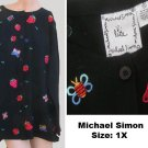 Michael Simon Sweater Embroidered Cardigan 1X Butterflies Strawberries
