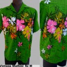 Vintage Aloha Shirt Malhini Hawaii 70 80s Button front Collar loop greens hot pink floral
