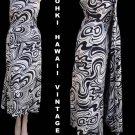 Vintage Hawaiian Dress S Long Graphic Tohki Watteau train Swirls Black White
