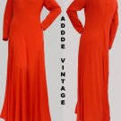 Vintage Dress M Adde Long sleeves R Scoop neckline Full length Red Orange Gown
