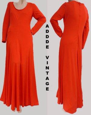 Vintage Dress M Adde Long sleeves R Scoop neckline Full length Red Orange Gown
