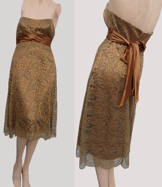 Bari Jay Lace Dress Gold Copper Sz 4 Strapless Hi waist sash Lace Formal