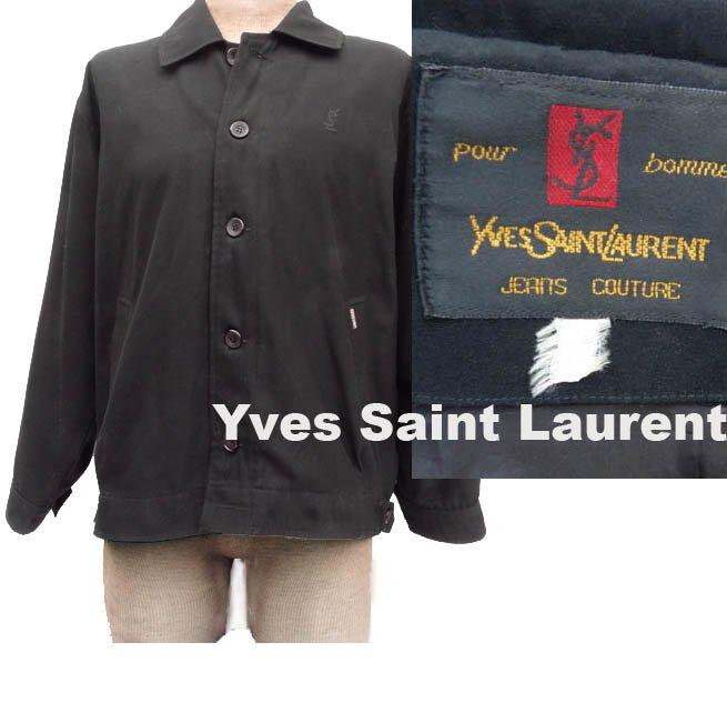 Yves Saint Laurent Jacket Couture Mens VTG 60s Classic Jeans Black Coat Jacket