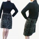 VTG 70s 80s Lillie Rubin Dress Sz 6 High neck Black top Zebra print Skirt Sz6 USA