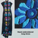 Vtg Hand Embroidered Floral Maxi dress Ethnic Multi color European  MAxi