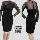 Vintage Illusion top Wiggle dress Tadashi Black Rose Sexy Stretch Size S