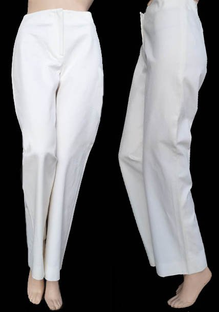 Womens Classy Burberry pants Sz 8 Slacks white Cotton Sz 8 ITaly