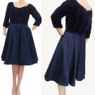 Victor Costa Black Bubble hem Vintage 80s dress I. Magnin NOS NWT Midnight blue Bubble hem
