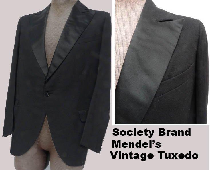 Vtg mens Tux Tuxedo 40 Mendel�s Society Brand Black SB70s 80s Wide lapels Formal Wedding Costume