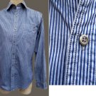 Rock & Republic mens Shirt Navy on Blue Stripe M Long sleeves metal buttons