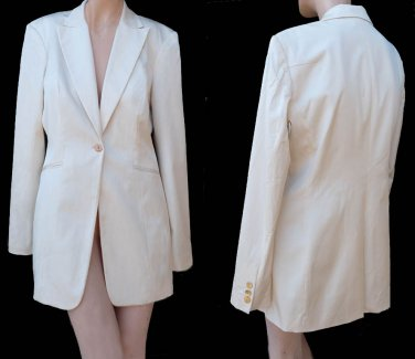 Elie Tahari jacket Sz 8 one button Cotton Rayon  Business or Dress longer style Cream