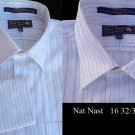 Nat Nast mens Long sleeve Dress Shirt finest cotton yarn white stripe 16 32/33