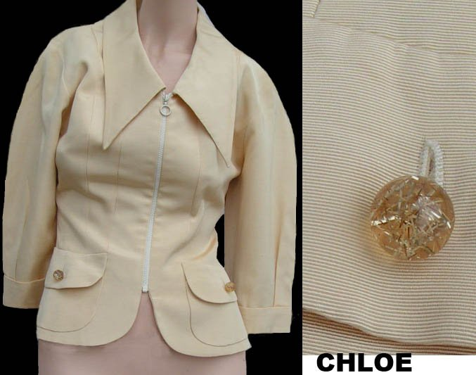 Womens CHLOE Jacket Bergdorf Goodman top Cropped Rayon Cotton 36