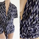 Womens top Blouse shirt Sz 14 Emanuel Ungaro Jacket SS Abstract Linen
