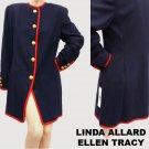 Womens Navy Blazer jacket NWT Nordstrom Red trim coat Sz 8 Linda Allard Ellen Tracy Military