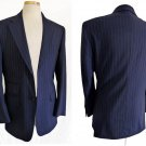 Vintage mens stripe suit 2009 Mayfair Coll Gerhard Bendl Navy Pinstripe Custom England SB 2 button
