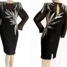 Beaded cocktail dress A J Bari Evening  Wiggle Sequins Black white gray Bugle beads