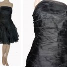 Lillie Rubin Black Silk Strapless Dress Ruched Ruffles Tiered Party Cocktail Above knee USA