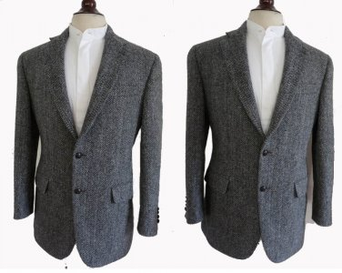 Stafford Harris Tweed Sportcoat40 R Blazer leather buttons Dual vents Classic