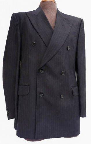Fendi Vintags 80s Suit jacket Sportcoat DB Black 42 Pin stripe Wide Peak Lapels  Italy
