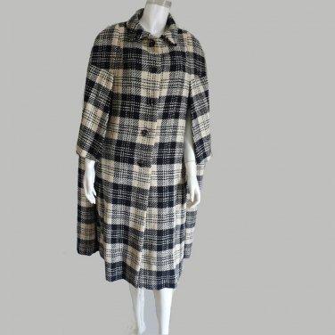Cape Wool  Vogue Couturier  Vintage Vogue Coat Vintage M L  Black White plaid