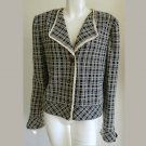 St John Collections Blazer Jacket Sz 12 Top Vintage 1980 90s Black White Check Plaid Fringe trim