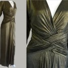 Tadashi Gown NWT Bloomingdales Ruched Bodice Small Copper Iridescent Long Sleeves Copper
